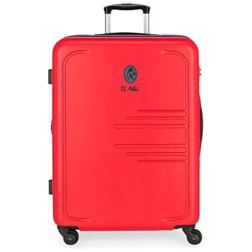 El Potro Batran Maleta mediana Rojo 48x69x28 cms Rígida ABS Cierre combinación 80L 3,7Kgs 4 Ruedas...