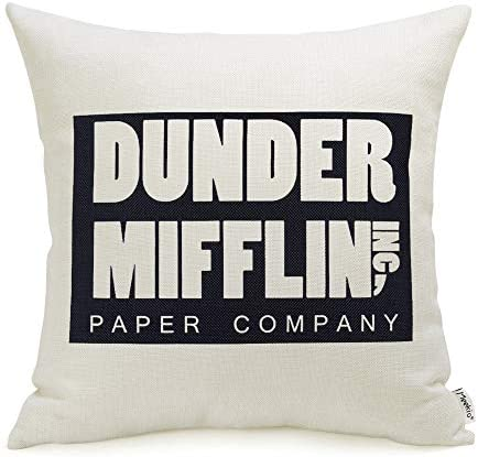 The Office Merchandise Dunder Mifflin Pillow Covers 18 x 18 Inch The Office Gifts for Dwight product image