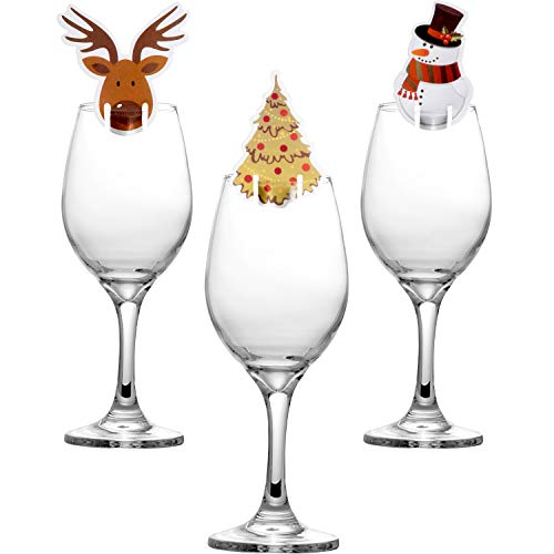 30 Piezas de Tarjetas de Copa Decoraciones de Copa de Vino de Navidad Adornos de Mesa para Materiales de Fiesta (Monigote de Nieve, Ciervo y Árbol de Navidad)