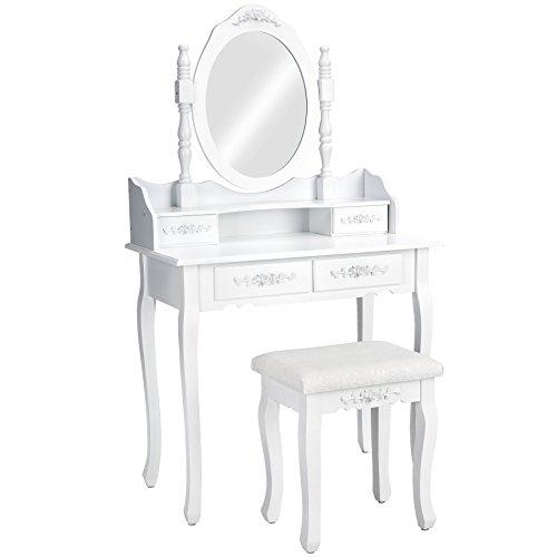 TecTake Schminktisch Kosmetiktisch weiß | mit 4 Schubladen | incl. Spiegel und Sitzhocker