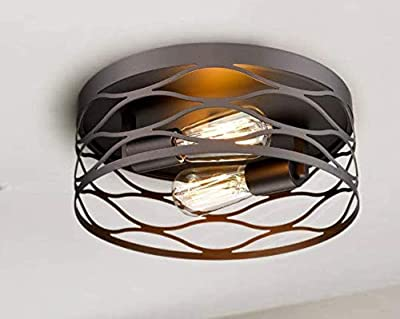 HT-XDTD-2 12''Flush Mount Ceiling Light, 2 Lights Industrial Close to Ceiling Light Fixture, Oil-Rubbed Bronze Finish Ceiling Light Suitable for Kitchen, Living Room, Hallway, Bedroom,Farmhouse