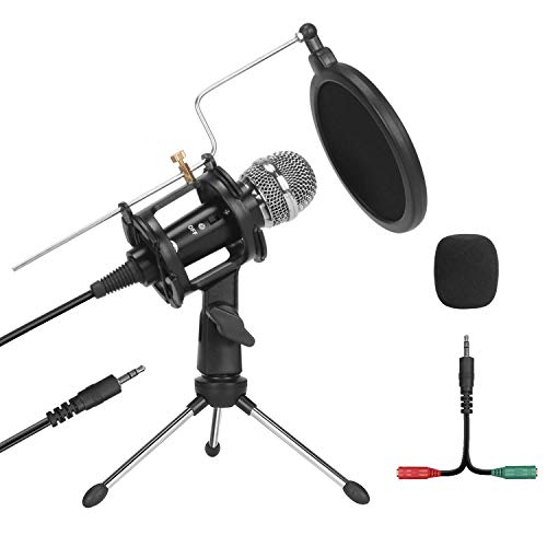 PEMOTech Studio Recording Microphone,Condenser Plug and Play PC Microphone for Podcast Recording,3.5mm Microphone with Pop Filter for Broadcast Desktop Laptop Sing Phone Skype YouTube (Renewed)