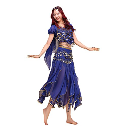 Pilot-Trade Lady's Belly Dance Costume Shiny Bells Top Phnom Penh Suit Dark Blue