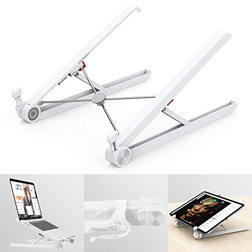 Klearlook Laptop Stand Holder, Foldable Portable Ventilated Adjustable Laptop Riser with Carry Bag,Lightweight Desktop Ergonomic Space-save Notebook Tray Mount for iM ac/Laptop & 11-17' Tablet-White