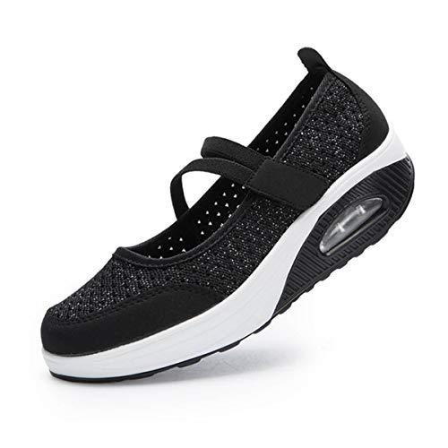 [todaysunny] 船型底ナースシューズ レディース ダイエットシューズ 厚底スニーカー 姿勢矯正 ダイエット 美脚 軽量 レースアップ ウォーキングシューズ 看護師 作業靴 歩きやすい 疲れない 婦人靴 厚底シューズ (23.0cm, ブラック-1