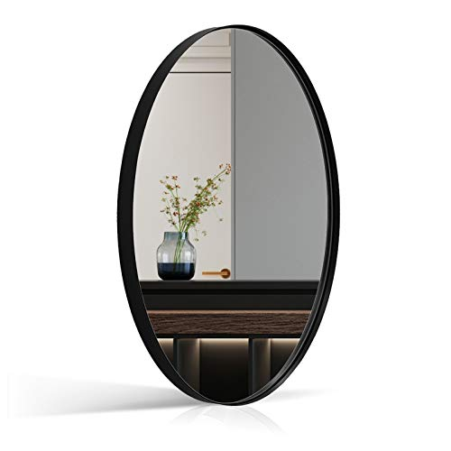 Andy Star Wall Mirror for Bathroom, 24x36'' Large Black Oval Mirror for Bathroom, Stainless Steel Matte Black Frame Wall Mounted Mirror