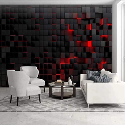 Papel tapiz de tecnología moderna personalizado para papel tapiz de sala de estar 3D luz roja brillante cubo negro mural de pared papel tapiz decoración del hogar 350x250cm