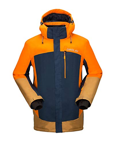 Orolay Men's Waterproof Ski Jacket Mountain Windproof Winter Hooded Rain Coat Orange XL