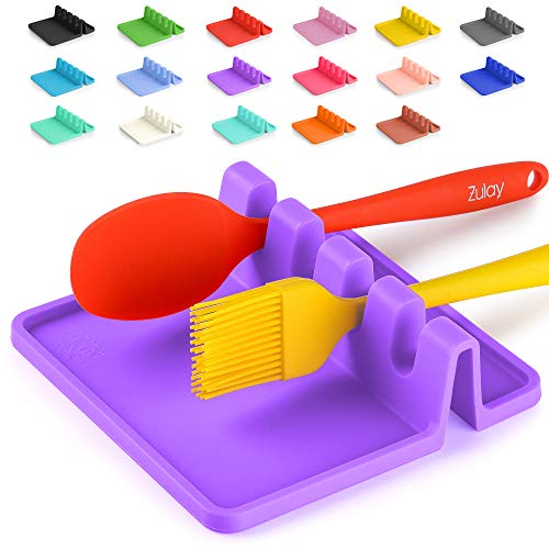 Silicone Utensil Rest with Drip Pad for Multiple Utensils, Heat-Resistant, BPA-Free Spoon Rest & Spoon Holder for Stove Top, Kitchen Utensil Holder for Ladles, Tongs & More - by Zulay (Mystic Violet)
