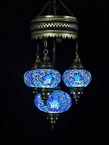 Lámpara oriental, araña turca, 4 esferas, color turquesa y azul