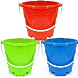Jumbo Thick Buckets Castle Model Beach Gear 7' Large Sand Pails Beach Water Pool Gardening Bath Toy Environmentally ABS Durable Plastic Complete Gift Set Bundle for Kids Boys Girls-Green Blue Red