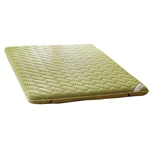 ASDFGH Traditionnel Matelas futon de Sol Japonais Matelas de Tatami, Portable Matelas Pliant 4 d Respirabilité Surmatelas 4 Bandes d'ancrage-Vert 90x200cm(35x79inch)