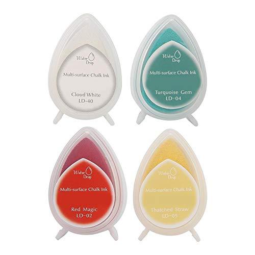 Inktstempelblokken, 4 kleuren Ambachtelijke inktkussenstempels Partner Diy Kleur Inktkussen Gekleurde stempel Inktkussen Papier Karton Klei Hout Leer Ambacht Regenboog Vinger Inktkussen(#2)