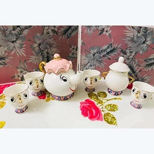 HLONGG Tetera de Dibujos Animados Belleza y la Bestia Tetera Chip Taza de cerámica Tetera Dorada tazón de azúcar Conjunto de té Mrs 6pcs para cafetera Kettle cumpleaños, Rosado