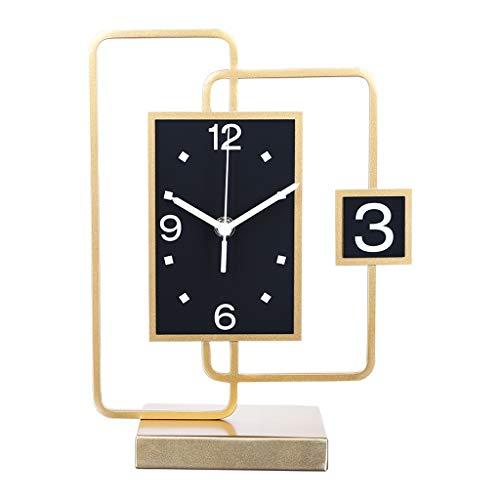 Reloj de Mesa Decorativo Mesa de marco de metal Reloj ahora Sala de estar Decoración de mesa MUTE Table Reloj de escritorio reloj de escritorio Péngulo Reloj de escritorio Borrar números Reloj de Escr