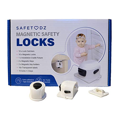 SAFETODZ 10 Magnetic Cabinet Locks with 2 Keys and Extra Adhesive Pads -...