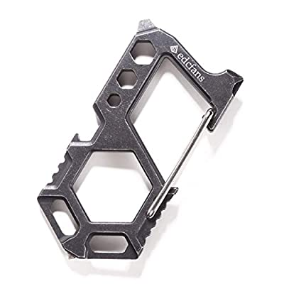Carabiner Keychain Stainless Steel Multitool - 12 in 1 Tactical Emergency Survival Gear - Bottle Opener, Wrench, Screw Drivers, Key Clip, Glass Breaker, EDC Pocket and Backpack Tool