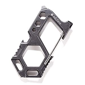 Carabiner Keychain Stainless Steel Multitool - 10 in 1 Tactical Emergency Survival Gear - Glass Breaker,Bottle Opener, Wrench, Screw Drivers, Key Clip, EDC Pocket and Backpack Tool