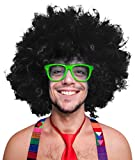 280g XXL AFRO PERÜCKE Lockenkopf WIG Black Afroperücke Lockenperücke Fasching Karneval schwarz, weiß, blond, rot, türkis, grün, pink (Schwarz)