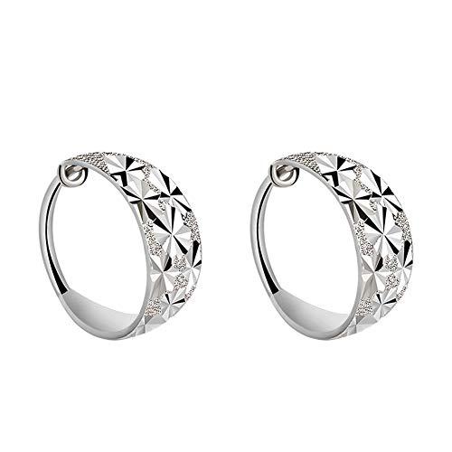 Meixao Hoop Earrings 925 Sterling Silver Hypoallergenic Small Sleeper Hoops Earrings for Women (White)