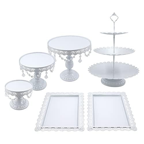 Snowtaros - 6 soportes redondos de metal para tartas y postres, con cuentas de cristal, 3 pisos, base redonda para cupcakes, estilo vintage, para decoración de fiestas, bodas