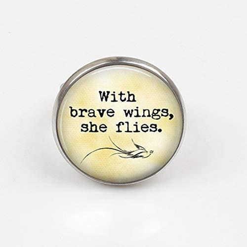 2019 Ring mit Brave Wings She Flies, handgefertigt, mit Motto-Ring, Foto-Glas