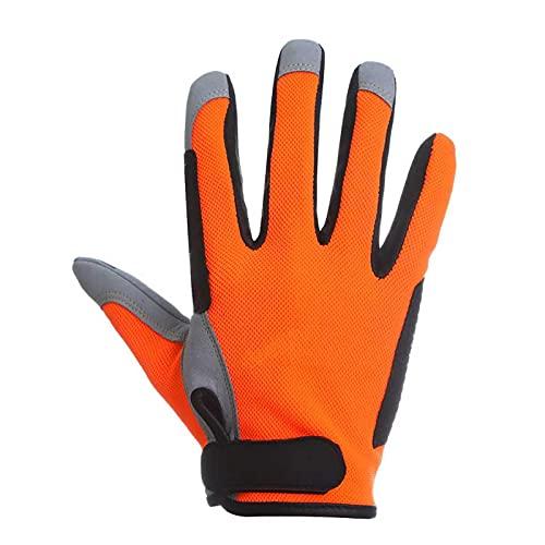 STmea Guantes de Pesca Guantes a Prueba de Patines de Placa de Hierro Proteger del Corte Materiales de Calidad Doble Durabilidad Stiched LL Orange