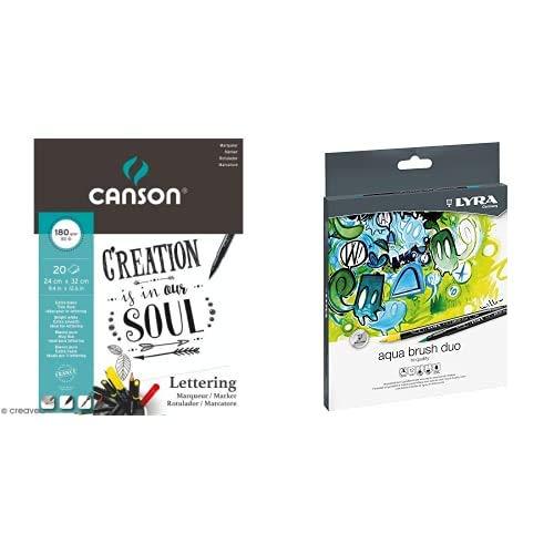 Canson Block Encolado A4 20 H 180 gr Lettering + Lyra Aqua Brush Duo Est. 12 Uds.