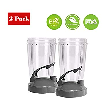 Pro Blade Replacement NutriBullet 24 oz Cup Flip Top to Go Lid Nutri Bullet 600W 900W (2 Pack)