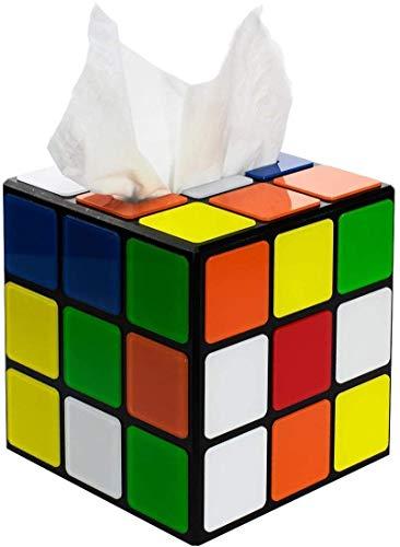 getDigital Zauberwürfel Taschentuchbox – Magic Cube Taschentuch-Spender mit magnetischem Verschluss – Ausgefallene Deko-Box für Fans der Serie, Bunt
