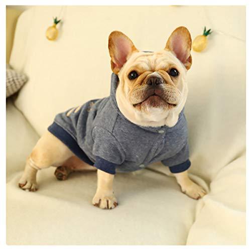 Smniao Winter Hunde Kleidung für Kleine Hunde Bulldogge Sweatshirt Bequem Sweater Kapuzenpullover Chihuahua Haustier Mantel Kostüm (XXL, Grau)