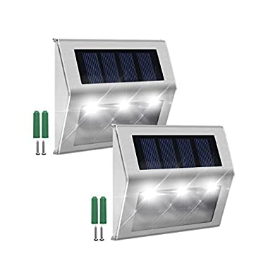 Solar Step Lights JACKYLED 2-Pack LED Solar Powered Weatherproof Outdoor Lighting for Steps Stairs Paths Patio Decks