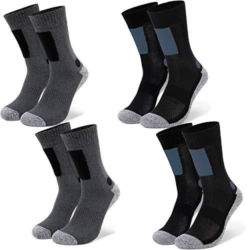 Occulto 2 bis 4 Paar Wandersocken für Herren, Trekking-Socken, Funktionssocken mit gepolsterter Sohle 4 Paar Blau-Anthra