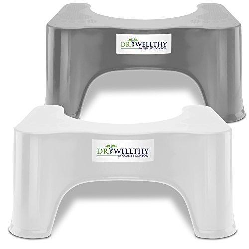 Dr. Wellthy - der Medizinische Toilettenhocker für Eine Gesunde und Aktive Darmflora - Die natürliche Alternative zu Medikamenten 2-er Set Weiß-Grau