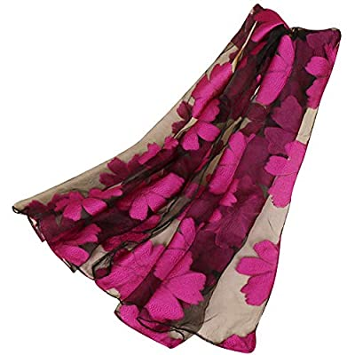MyMei Organza Wrap Scarf Fashion Floral Embroidered Soft Translucent Shawl Long Stoles for Girls and Women