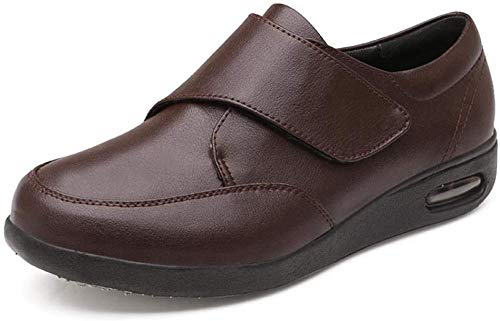 RSVT Zapatilla DiabéTica Sin Cordones para Mujer,Zapatos de Cuero con pies hinchados, Que agregan Fertilizante para ensanchar los Zapatos para diabéticos.-marrón_Reino Unido8.5