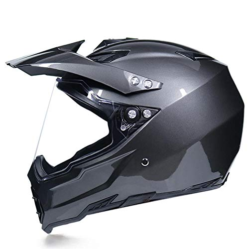 Motocross Rallye Lens Anti-UV veiligheidshelm voor motorfiets snelweg integraalhelm M Bright titanium gray