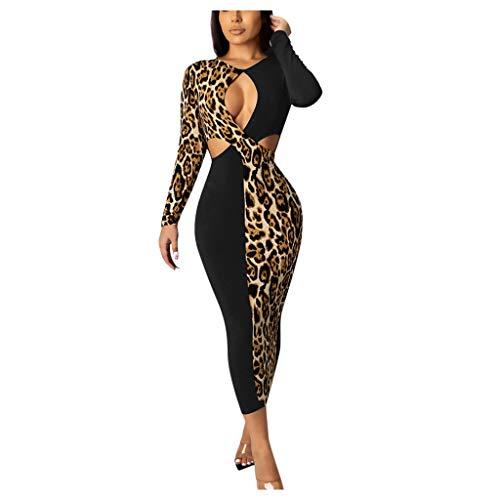 Janly Clearance Sale Vestido de noche para mujer, estampado de leopardo, manga larga, hueco para patchwork, sexy, vestido de noche, para discoteca, boda, temporada de honor, color negro