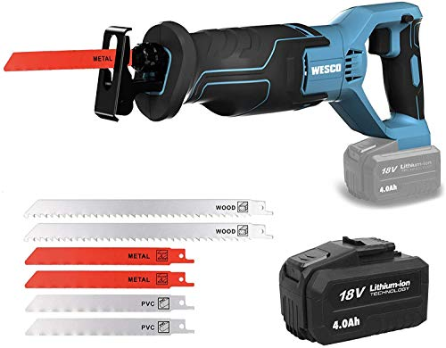 WESCO Cordless Reciprocating Saw 18V, 4.0Ah Li-Ion Battery, 0-3000SPM Variable Speed, 20mm Stroke Length,Tool-Free Blade Change, 6 Saw Blades Electric Saw Kits for Wood Metal   UKWS2947.1