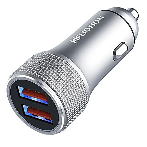 HELIOTION QC 3.0 Cargador de Coche rápido USB 36 W 2 Puertos Cargador de Coche para Galaxy S21 S20 S10 Note 10 A51 A41 A20e Redmi 9 Redmi Note 9 iPhone 12 11 (Gray)