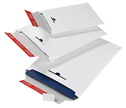 ColomPac CP012.04 ColomPac CP012.04 Versandtasche aus Vollpappe 245x345x30mm PK100 mit Selbstklebeverschluss, Knickschutz und umlaufenden Kantenschutz Variable Füllhöhe bis 30mm weiss