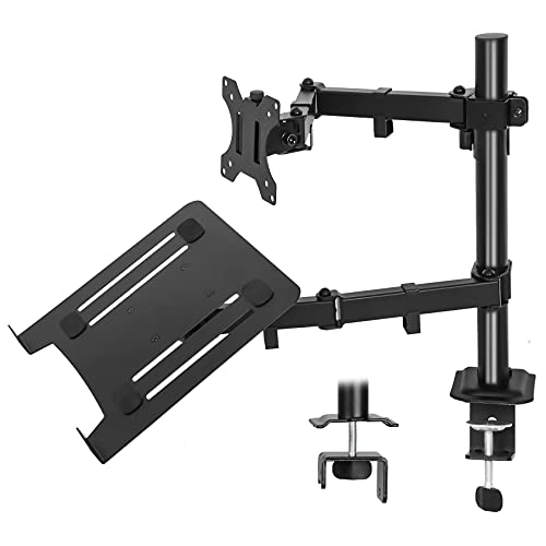 IMLIB Monitor Arm with Laptop Tray for 13 to 27 inch Screen & up to 17 inch Notebook Adjustable Monitor Stand Mount with 2 Mounting Options, VESA Dimensions: 75x75-100x100mm