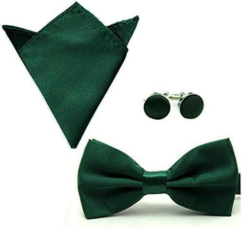 Men Solid Color Satin Bow Tie Bowtie Handkerchief Pocket Square Cuff Link Set Color: Dark Green