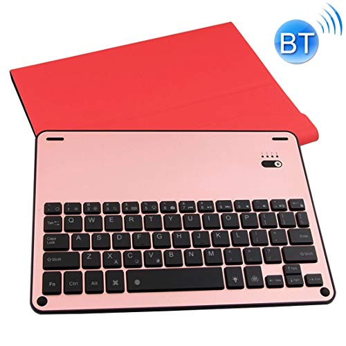 XUAILI Tablet Keyboard Case For iPad Air/Pro 9.7 inch Backlight Version Lambskin Texture Detachable Aluminum Alloy Bluetooth Keyboard Leather Cover with Stand Function (Color : Red)