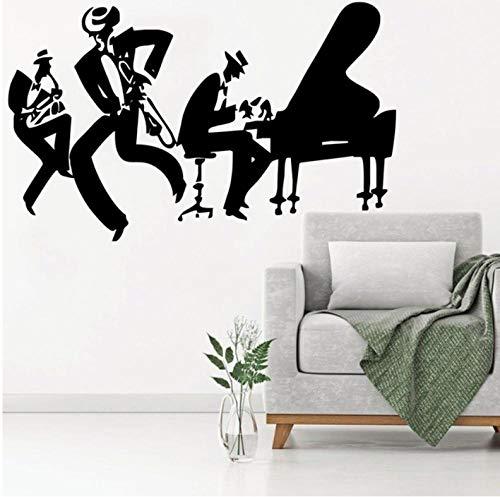 Muursticker 42X72cm Piano Jazz Cool Home Muziek Decor Cinturino Per Strumento Sax Strumento Nero Applique Kan verplaatsen PVC Wallpaper Home Decoratie Moderne Waterdichte Zelfklevende Kunst Creatieve DIY