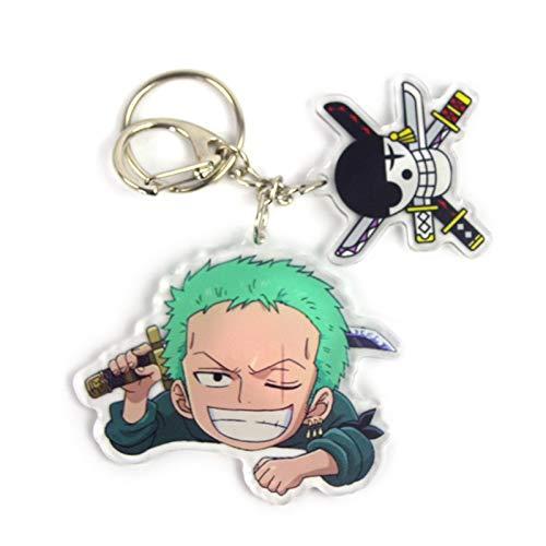gerFogoo Porte-clés One Piece Anime Man Porte-clés en acrylique pour couple Roronoa Zoro (Style 2)