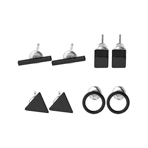 Joocyee - Juego de 4 Pares de aretes Simples con Barra Triangular geométrica, aretes Circulares Cuadrados, aretes geométricos de Cuatro Piezas, Color Negro