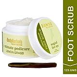 BodyHerbals Foot Scrub, Lemongrass Walnut | 1 minute Pedicure, Cracked Heel Remover I Paraben & SLS Free(125 gms)