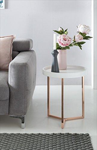 Table d'appoint Design Blanc/cuivre ø Bois métal Plateau de Table 40cm | Table Basse Moderne avec Plateau Table Basse | Ronde Table Basse