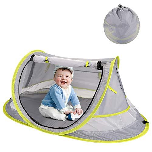 HALOVIE Tente Plage Bébé Anti UV UPF 50+ Pliable Tente Pop Up pour Enfants Lit de Voyage Bébé avec Moustiquaire Tente Bébé Intérieur Extérieur Protection Solaire Tente Enfants pour Jardin Plage Maison